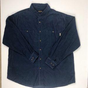 Woolrich Mens 2XL Navy Blue Corduroy Shirt